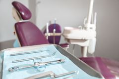 Dental instruments and tools in a dentist office Royalty Free Stock Photo