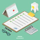 Dental insurance flat isometric vector concept. Royalty Free Stock Image