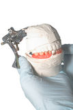 Dental Lab Articulator with dental prosthesis Stock Photo