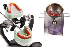 Dental lab articulator and equipments for denture. Dental lab articulator with equipments for denture stock photography
