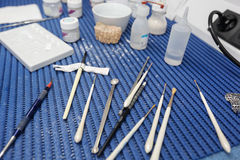 Dental lab tools and instruments for porcelain layering Stock Photo