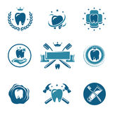Dental labels and icons set. Vector Stock Photos