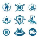Dental labels and icons set. Vector. Dental labels and icons set Stock Images