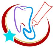 Dental logo. Isolated line art dental logo design Royalty Free Stock Photography