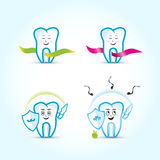 Dental logo templates set. Family dental. Tooth cartoon characters, peaceful and protecting from caries-  set. Stock Photos