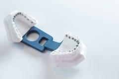 Dental lower jaw bracket braces model on white Royalty Free Stock Images