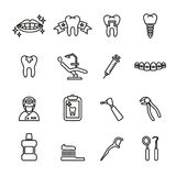 Dental and medical icon set. Line Style stock vector. Royalty Free Stock Images