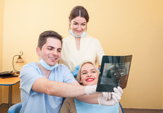 Dental medical team explaining x-ray Stock Photos