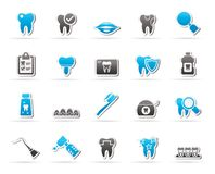 dental medicine and dentistry tools icons Stock Image
