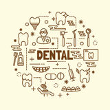 Dental minimal thin line icons set. Vector illustration design elements Stock Photo