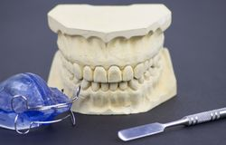 Dental molding illustrating the dental industry and dental implantology. Macro shoot Royalty Free Stock Image