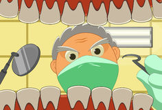 Dental Office. Image of a Dentist who is doing the dental work at the dental office Royalty Free Stock Photos