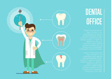 Dental office banner with male dentist. Male cartoon dentist in medical uniform and superhero green cape holding dental mirror on blue background with teeth Stock Photo