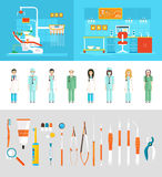 Dental office dentists. Stock vector illustration set of dental office with dental chair, office of dentist, dental equipment, medical staff in flat style Royalty Free Stock Photos