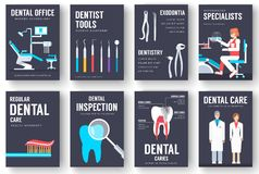 Dental office interior information cards set. Hygiene template of flyear, magazines, posters, book cover, banners. Clinic infographic concept background royalty free illustration