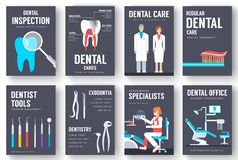 Dental office interior information cards set. Hygiene template of flyear, magazines, posters, book cover, banners stock illustration