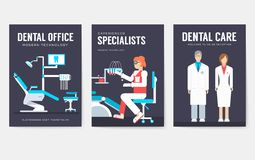 Dental office interior information cards set. Hygiene template of flyear, magazines, posters, book cover, banners vector illustration