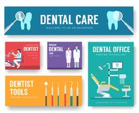 Dental office interior information cards set. Hygiene template of flyear, magazines, posters, book cover, banners royalty free illustration