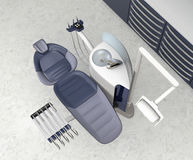 Dental office interior with metallic blue unit equipment and cabinet. 3D rendering image Stock Photography