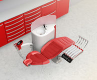 Dental office interior with metallic red unit equipment and cabinet Stock Photography