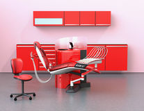 Dental office interior with red unit equipment and cabinet Stock Images