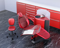 Dental office interior with red unit equipment and cabinet Stock Image