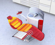Dental office interior with white unit equipment, cabinet and red chair Stock Images