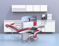 Dental office interior with white unit equipment, cabinet and red chair Royalty Free Stock Image