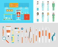 Dental office PC set dentists instruments Stock Photos