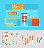 Dental office PC set instruments Stock Images