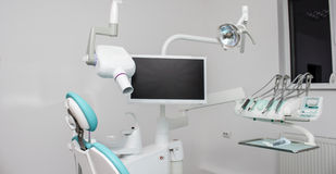 Dental office. With tools: chair ,xray, screen stock images