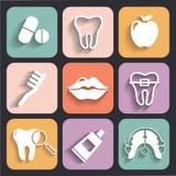 Dental and Orthodontics Flat Icons Set Royalty Free Stock Photos