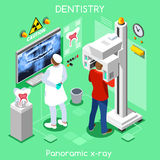 Dental panoramic teeth x ray radiography oral imaging dental center dentist and patient. Stock Image