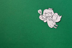 Dental paper cut, cute tooth fairy  on green Royalty Free Stock Photo