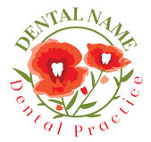 Dental Poppy Flower Logo Template. Modern and artistic poppy red flowers with a dental molar tooth in the middle of each poppy flowers and small molar teeth royalty free illustration