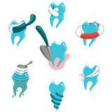 Dental problems and treatment icon set Stock Images