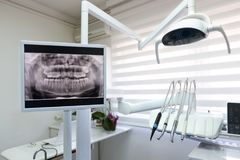 Dental x-ray footage in dental clinic Stock Photo