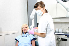 Dental x-rays. Technician getting ready to take dental x-rays Stock Photography