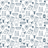 Dental seamless pattern. Dark blue linear icons. Flat design. Vector Stock Photo