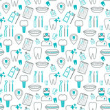Dental seamless pattern. Linear icons. Flat design. Vector. Illustration Royalty Free Stock Photography