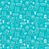 Dental seamless pattern. White linear icons. Blue backdrop Flat design. Vector Royalty Free Stock Images