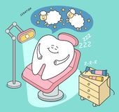 Dental sedation illustration. Cartoon tooth falls asleep in a dental chair. royalty free illustration