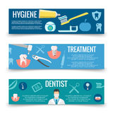 Dental service flat banners template - teeth care banners stock illustration
