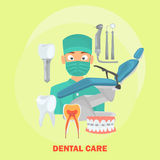 Dental service set icons for web and mobile design. Flat design Royalty Free Stock Photos