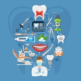 Dental Services Infographics. With Oral Hygiene and Dental Clinic. Icons in Flat Style Doctor, Dentist Chair, Tooth and Braces. vector illustration Stock Photography