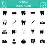 Dental solid icon set Stock Photos