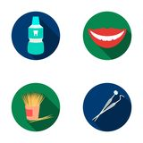 Dental sterile liquid in the jar, lips, teeth, toothpicks in the jar, medical instruments for the dentist. Dental care. Set collection icons in flat style Stock Photos