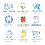 Dental and stomatology logos vector set Royalty Free Stock Photos