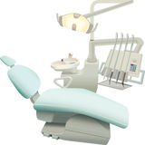 The dental surgery equipment. Armchair of the patient and the necessary equipment for the dentist Stock Photo
