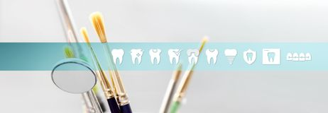 Dental technician concept tools with teeth icons and symbols web. Banner background royalty free stock photos